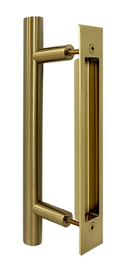 Barn handle brass round